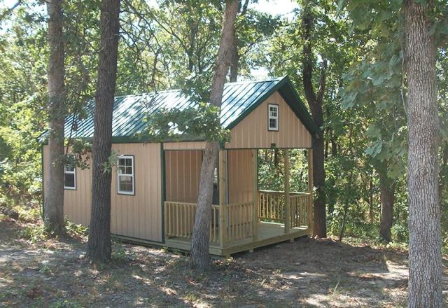 12x24 Cabin setting in the woods
